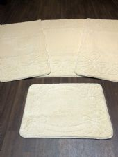 ROMANY WASHABLES TRAVELLER MATS SETS NON SLIP SUPER THICK LIGHT CREAM BOW DESIGN